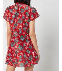 rixo women's lolita high neck mini dress - garden party red - m