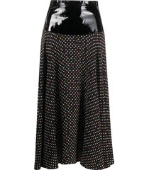 christopher kane patent waistband midi skirt - black