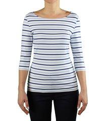 saint james garde-cote iii white light blue 3/4 sleeved t-shirt