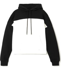 two-tone cotton-jersey track hoodie