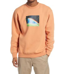men's obey men's rainbow graphic sweatshirt, size xx-large - brown