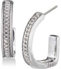 "dkny chain textured 3/4"" hoop earrings, created for macy's"