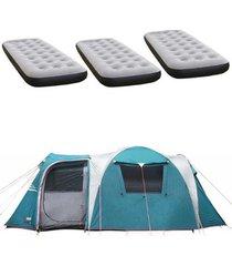 barraca camping nautika arizona gt 9/10 pessoas + 3 colchões solteiro inflável fit ecologic