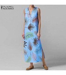 zanzea verano de las mujeres con cuello en v de bohemia de la playa vestido floral maxi vestidos sin mangas -azul claro