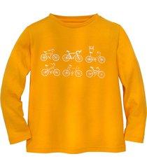 shirt met lange mouw fiets, geel 134/140