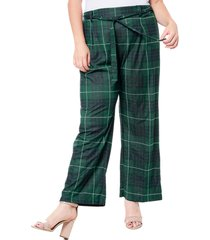 single thread plaid tie waist pants, size 1x in black/green at nordstrom