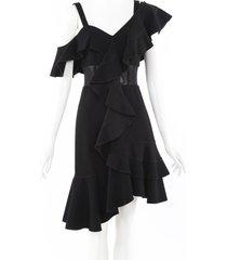 proenza schouler one shoulder ruffle dress black sz: s