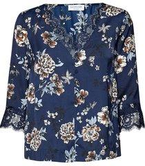 blouse 3/4 s blus långärmad blå rosemunde