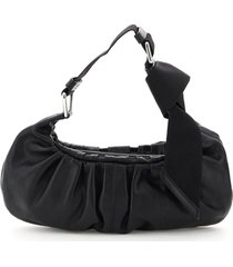 ganni mini hobo baguette bag draped leather