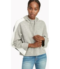 tommy hilfiger women's hoodie sweater medium heather grey colorblock - l