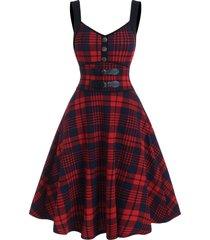 mock button tartan print empire waist cami dress