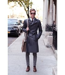 men leather coat winter long  leather coat genuine real leather trench coat-uk29