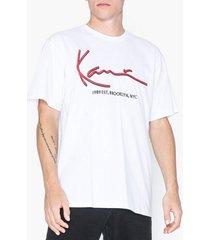 karl kani kk signature tee t-shirts & linnen vit/röd