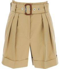 alexander mcqueen belted cotton shorts