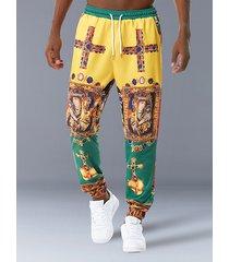 hombres estilo europeo estampado retro casual pantalones