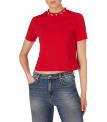 camiseta de algodón orgánico con cuello con el logo rojo calvin klein