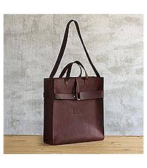 leather tote bag,'world class' (peru)