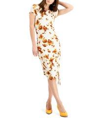 bar iii printed ruched dress, created for macy's