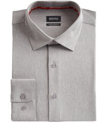 buffalo david bitton men's slim-fit performance stretch gray solid chambray dress shirt