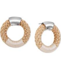 alfani silver-tone braided rope doorknocker drop earrings, created for macy's