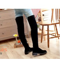 pp196 stylistic over-knee boots w stretch top, zip side us size 4-9, black