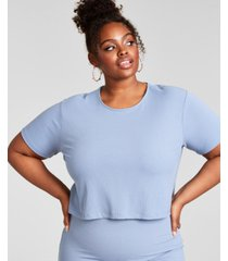 nina parker trendy plus size ribbed knit cropped t-shirt, created for macy's