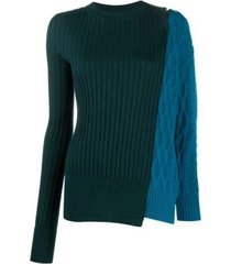 paneled wool sweater with cold shoulder