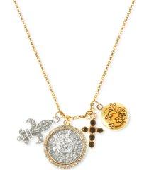 "rachel rachel roy two-tone crystal multi-charm layered pendant necklace, 17"" + 3"" extender"