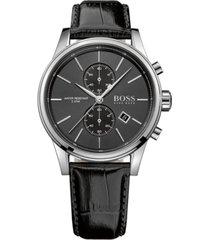 boss men's chronograph jet black leather strap watch 41mm