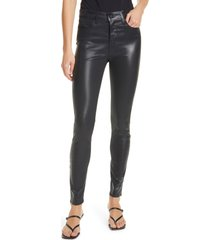women's l'agence marguerite coated high waist skinny jeans, size 25 - black