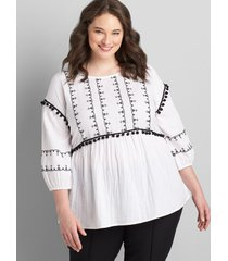 lane bryant women's 3/4-sleeve embroidered top 16 white