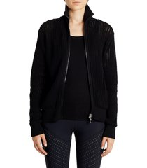 women's moncler zip turtleneck cotton cardigan, size x-small - black