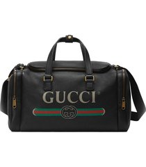 gucci gucci print leather carry-on duffle - black
