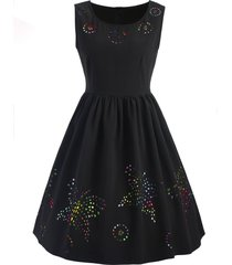 hollow out butterfly sleeveless flare dress