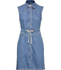drawstring dress knälång klänning blå lee jeans