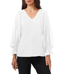 chaus v-neck balloon sleeve chiffon blouse, size small in soft ecru at nordstrom