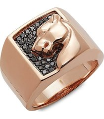 effy men's 14k rose gold & black diamond ring - size 10