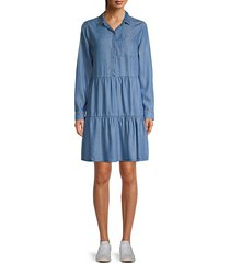 tiered chambray shirtdress
