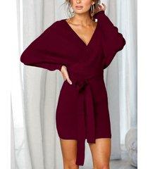 yoins red backless design v-neck long sleeves dress