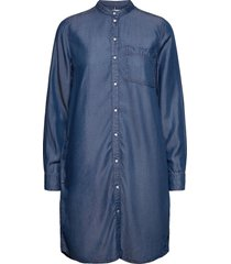 chambray short shirt dress ls knälång klänning blå tommy hilfiger