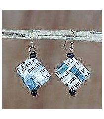 recycled paper and wood dangle earrings, 'avid reader' (ghana)