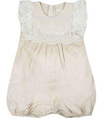 chloé beige linen-blend lace-trimmed romper