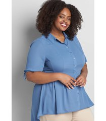 lane bryant women's button-front extreme high-low peplum top 12 moonlight blue