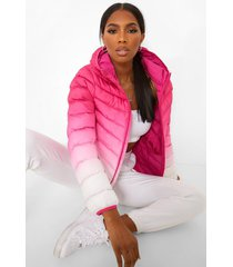 ombre hooded puffer jacket, pink