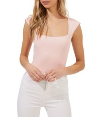 astr the label cap sleeve square neck bodysuit, size large in blush at nordstrom