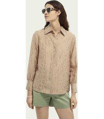 scotch & soda regular fit blouse met jacquard dierenmotief