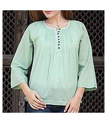 cotton voile tunic, 'mandala green' (india)