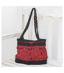 crocheted shoulder bag, 'sunflower texture in crimson' (guatemala)