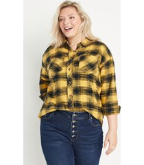 maurices plus size womens yellow & black plaid oversized button down shirt