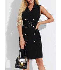 yoins negro cinturón diseño collar de solapa con botón frontal sin mangas vestido